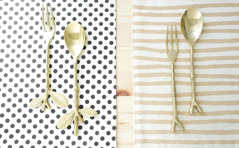 Twig Brass Spoon and Fork Set