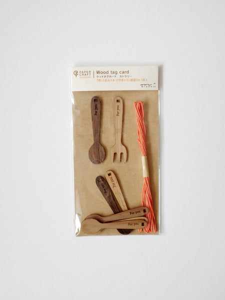 Books and Cutlery Wood Tag Cards