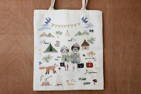 Fox and kids tote bag