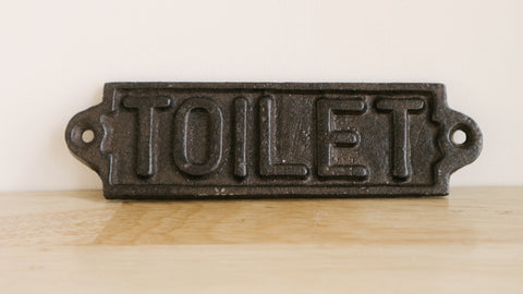 Wrought Iron Toilet Sign