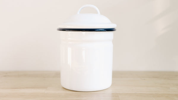White and Navy Enamel Canister