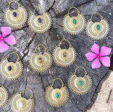Brass stone earrings