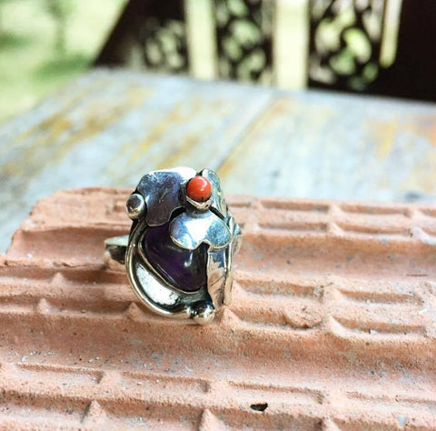Exclusive silver ring...one-of-a-kind...with Amethyst and Red coral