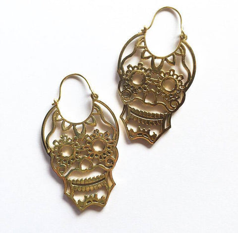 Mexican skull earrings...gold color