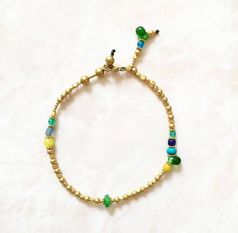 Green blue yellow anklet