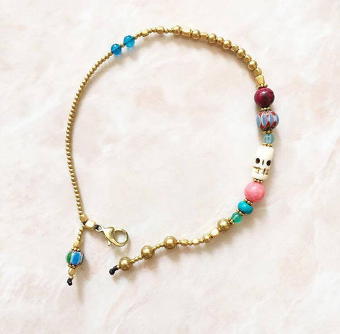 Coloful skull anklet
