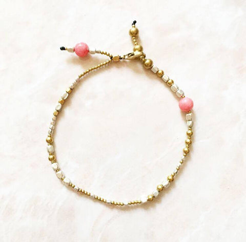 Pretty pink anklet