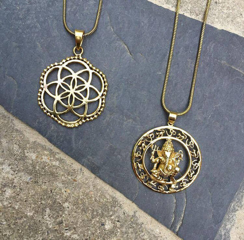 Brass chain amulet necklaces