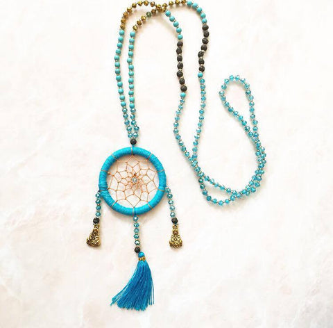 Turqouise dream-catcher necklace