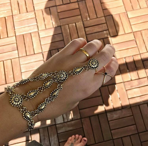 Goddess ring-bracelet Gold color