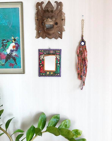 Fabric mirror wall decoration