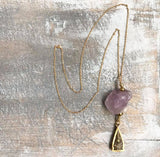 Amethyst Buddha chain necklace