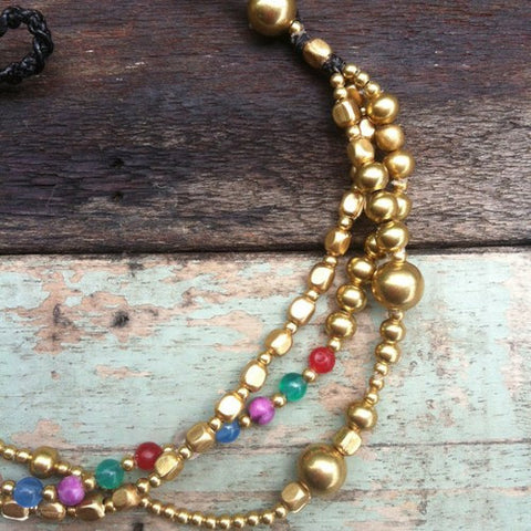 Colorful brass anklet