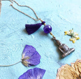 Amethyst chain amulet necklace