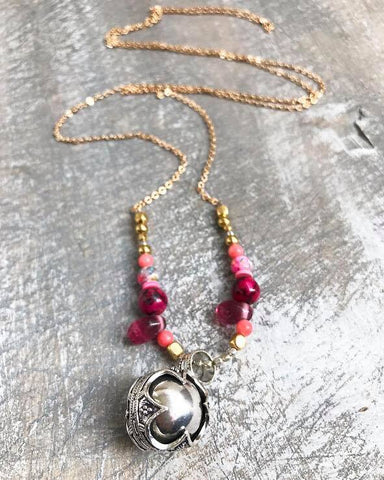 Pink love bola necklace , one of a kind