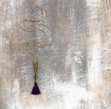 Purple tassel brass necklace