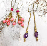 Pink brass earrings