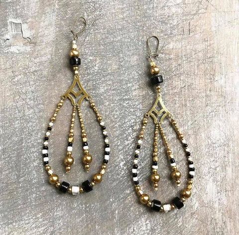 Black and white brass earrings