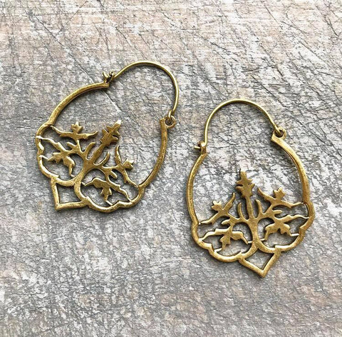 Tree brass earrings...brass color