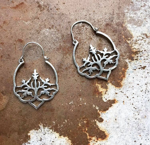 Tree brass earrings...silver color