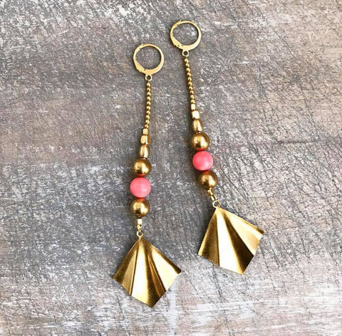 Beautiful brass and pink earrings