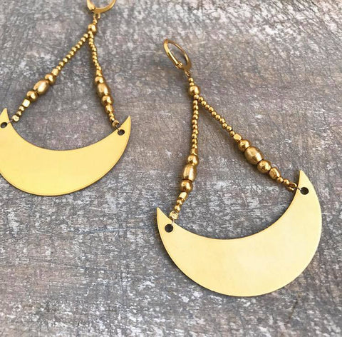 Moon brass earrings