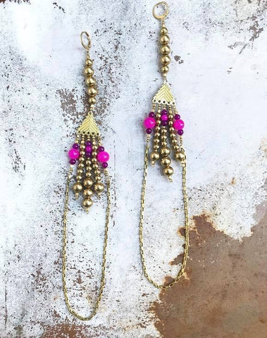 Long pink and purple brass chain earrings