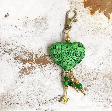Heart keychain......green