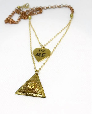 I Love ME  chain  mix necklace