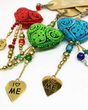 LOVE YOURSELF with a key-chain.......green