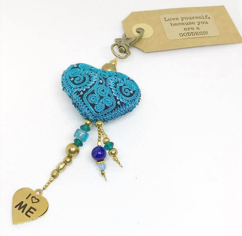 LOVE YOURSELF with a key-chain.......blue