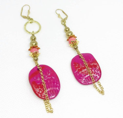 Asymmetric pink and red earrings