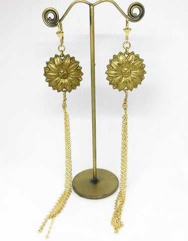 Brass flower earrings...long