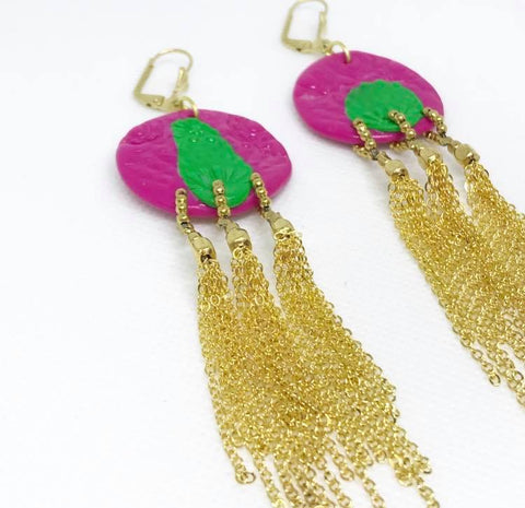 Asymmetric pink and green gold tassel earrings