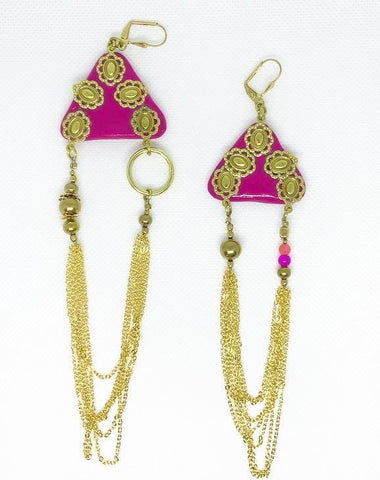 Asymmetric pink triangle earring