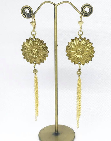 Brass flower earrings...short