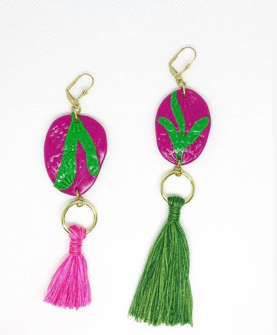 Asymmetric pink and green tassel earrings