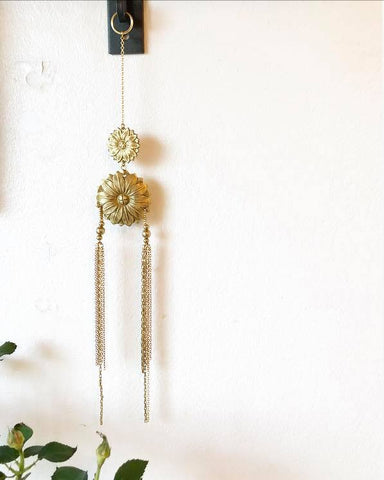 Brass flower wall-decoration