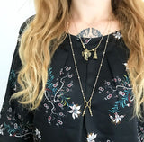 Twice as Lucky brass necklace