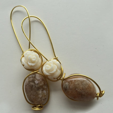 Marble Rose-c Earring