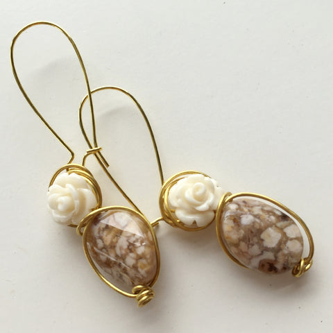 Marble Rose-b Earring