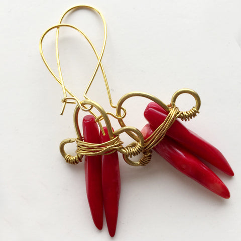 Red Coral Rock-d Earring