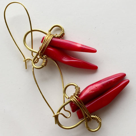 Red Coral Rock-a Earring