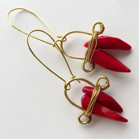 Red Coral Rock-c Earring