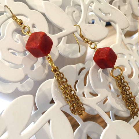 RED JASPER Cubic- Earring
