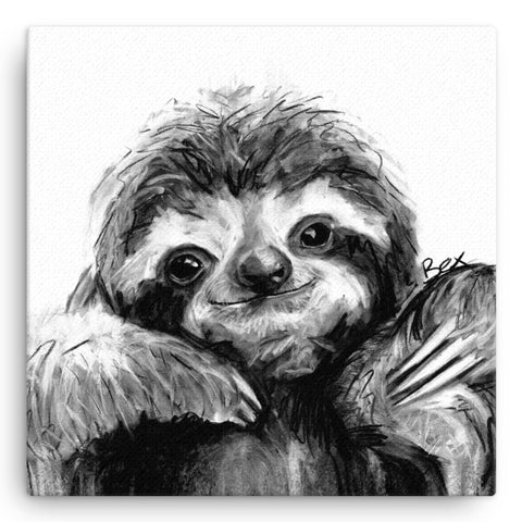 Sloth BW22W Large Canvas by Bex Williams