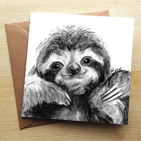 Sloth BW22G Greetings Card by Bex Williams