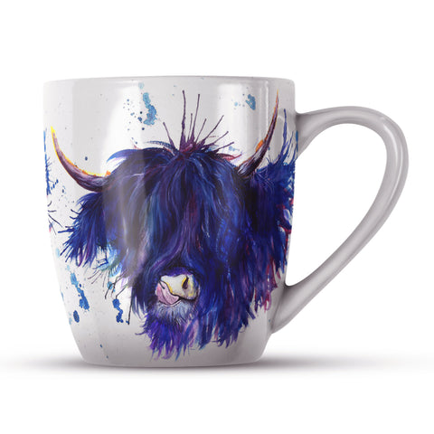 Splatter Highland Cow KW28H Bone China Mug by Katherine Williams