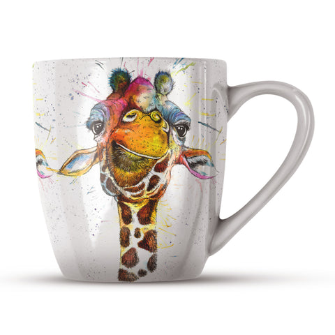 Splatter Rainbow Giraffe KW37H Bone China Mug by Katherine Williams