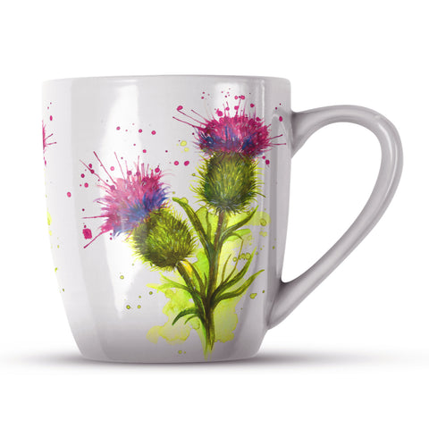 Splatter Thistle KW63H Bone China Mug by Katherine Williams
